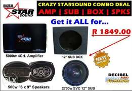 Starsound Subwoofer Amplifier Speakers and box deal