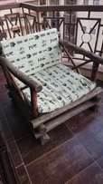 Wooden Garden Seats (x2) + Pillows (x4)