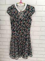5f35a73c65 Letnia zwiewna sukienka Bershka S w kwiaty kołnierzyk