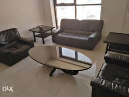 Leather sofa side table and centre table