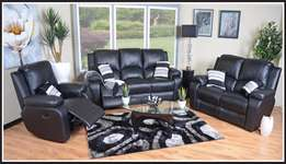 BRAND NEW! 3piece Lyla 3 Action Recliner Lounge Suite (Leather Uppers)