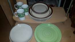 Plates and mugs (brown and green)