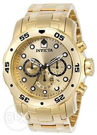 Invicta Men's 0074 pro Diver Analog 18k Gold-plated Stain