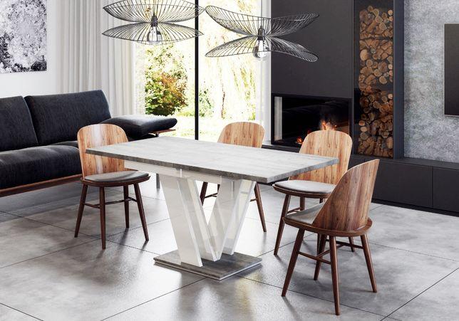 Stół Biały Połysk Beton Rozkładany 120160 Kuchnia Salon