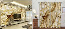 Photomural and Curtain Designs same colour