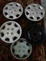Four steel rims with hard caps