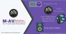 Projector, PA System, Projector Screen, Live Audio Recording from R600