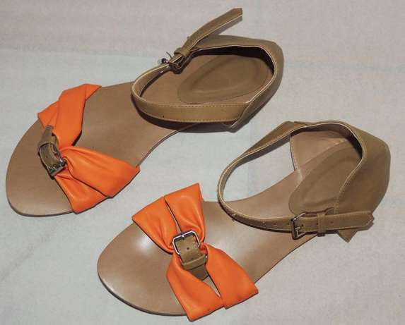 Brown - orange open flat shoes (VJ Collections) Ruaka - image 4