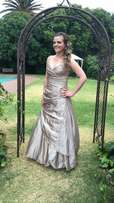 Stunning Raw silk wedding dress /matric dance dress designer Hip Hop
