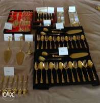 Gold plated teaspoons, cake forks, cake lifters. Price on photos