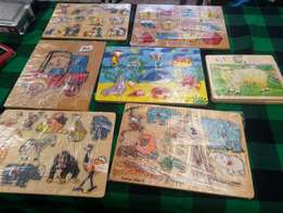 Kiddies wooden educational puzzles.