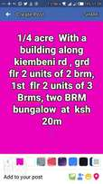 1/4 acre With a building along kiembeni rd , grd flr 2 units of 2 brm