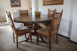 6 seater round, solid oak dining room suite