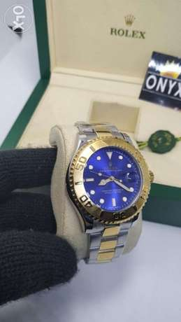 Replica Rolex YachtMaster 1 blue dial two tone