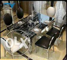Cream and black marble by six with six chairs