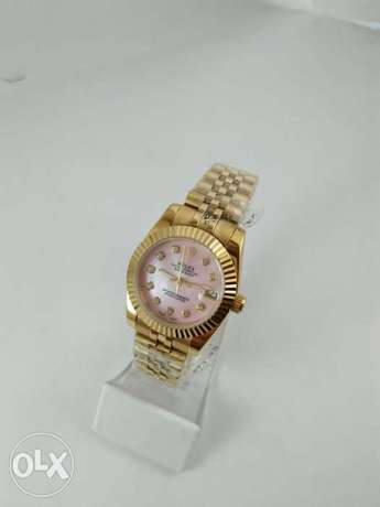 Rolex Date Just For Ladies Gold With Pink First Copy