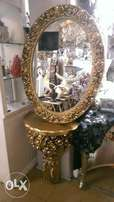 Carves mirro console gold color