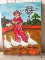 Woman with ducks Painting