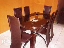 Brand New Brown Glass Dining Table (7560)