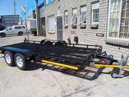 Flatbed and cart trailers for sale.