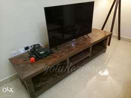 Rustic contemporary tv stand.