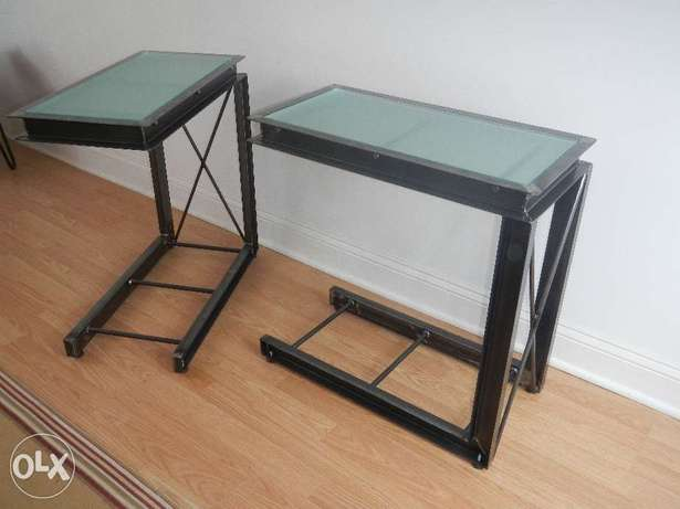 [Contemporary heavy industrial - side Tables industrial Steel & Glass]