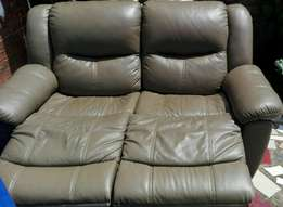 Grafton genuine full leather 2 seater recliner and 3 seater sofa bed