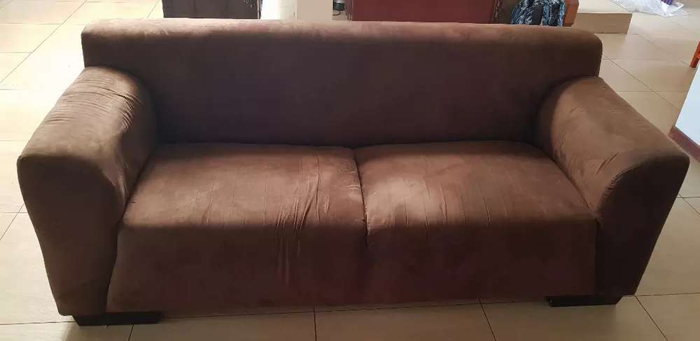 2 seater chocolate brown suede couch