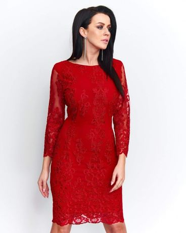 007e6d21 Sukienka koronkowa koronka czerwona ołówkowa wesele nowa 34/36 38/40 ...