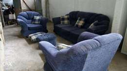 3 pc Executive Sofa Set with Pillows and Poof