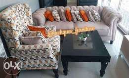3 seater cream suede sofa with an amazing arm chair