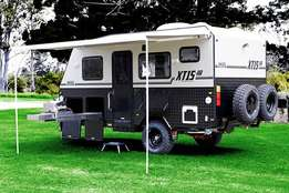 Roadworthy camping trailers with tents, fully furnished for sale