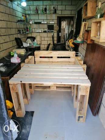 Banches and table pallet wood style طبالي مكتب وطاولة