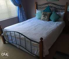 Wrought Iron and Oak Bed Frame + Queen size bed for sale! R3000