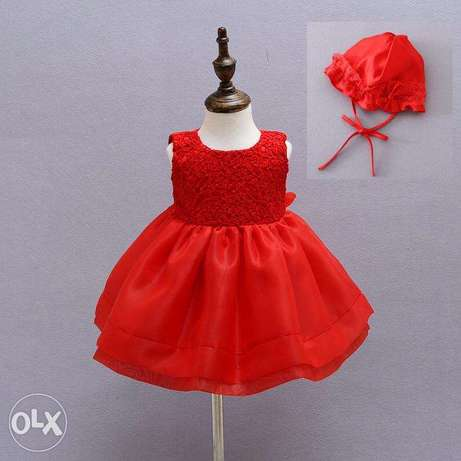 Quality Baby girls clothes plain red color gowns Idimu - image 1