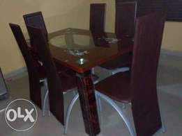 ZK Brand New Glass Dining Table Set Six Sitter (New)