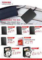 Toshiba Storage 500Gb Internal from R599 and External from R699