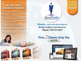 Business Website, Logo, Letterhead, Bus Card, Hosting & Domain