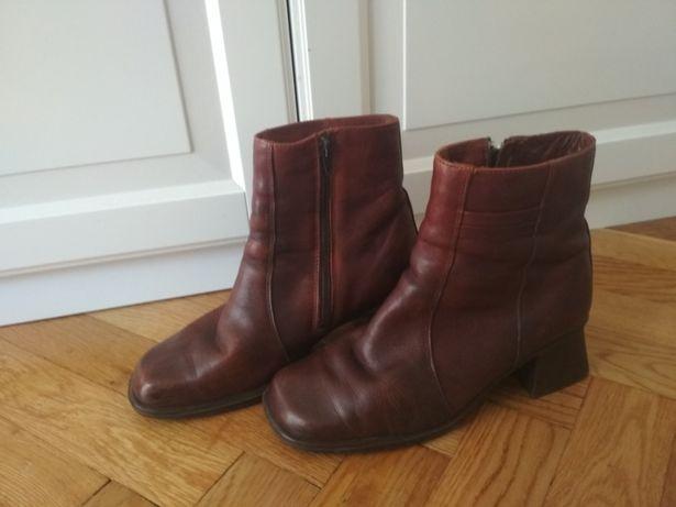 Skórzane brązowe buty kozaki ocieplane rozmiar 40 buty