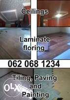 Ceilings, Painting,Laminateflooring and Tiling.