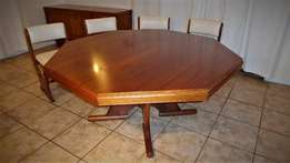 Solid Wood 8 Seater Dining Table, Sideboard and Chairs