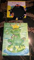 Frog canvas painting and wooden framed mirror