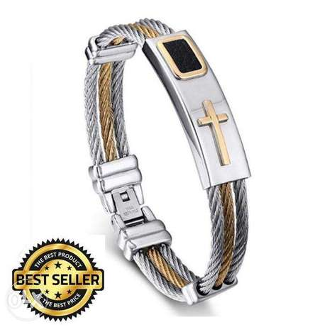 2017 Premium Gold Stainless Steel Cross Bracelet Ikeja - image 1