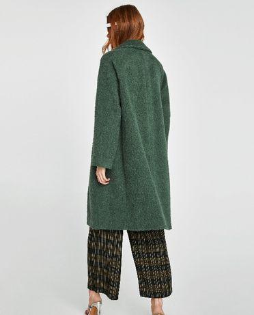 wełniany płaszcz zara zielony