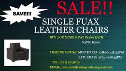 Sale Single Fuax Leather Seats For Only For R 1400!