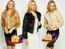 Encrusted Front Faux Fur Cropped Jacket From U.K