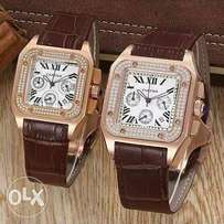 Brown leather Cartier his and hers watch