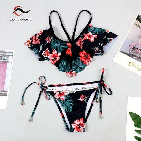 e7f7f5c1bb8cd1 NOWY kostium kąpielowy S floral kwiaty biustonosz push up koronka Nowy Sącz  - image 1