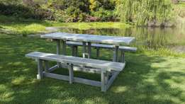 Picnic bench sets, park benches and all outdoor furniture.