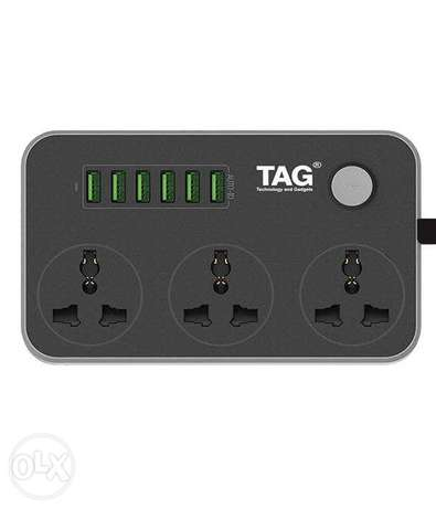 Tag outlet cord- Power Sockets + 6 USB Charger